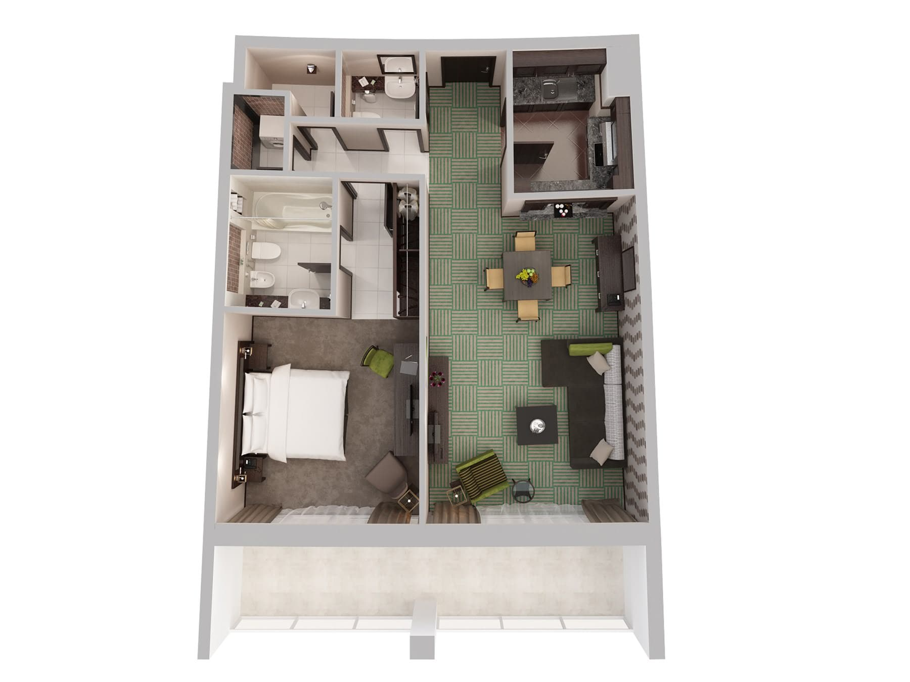 One Bedroom Apartment Top Down