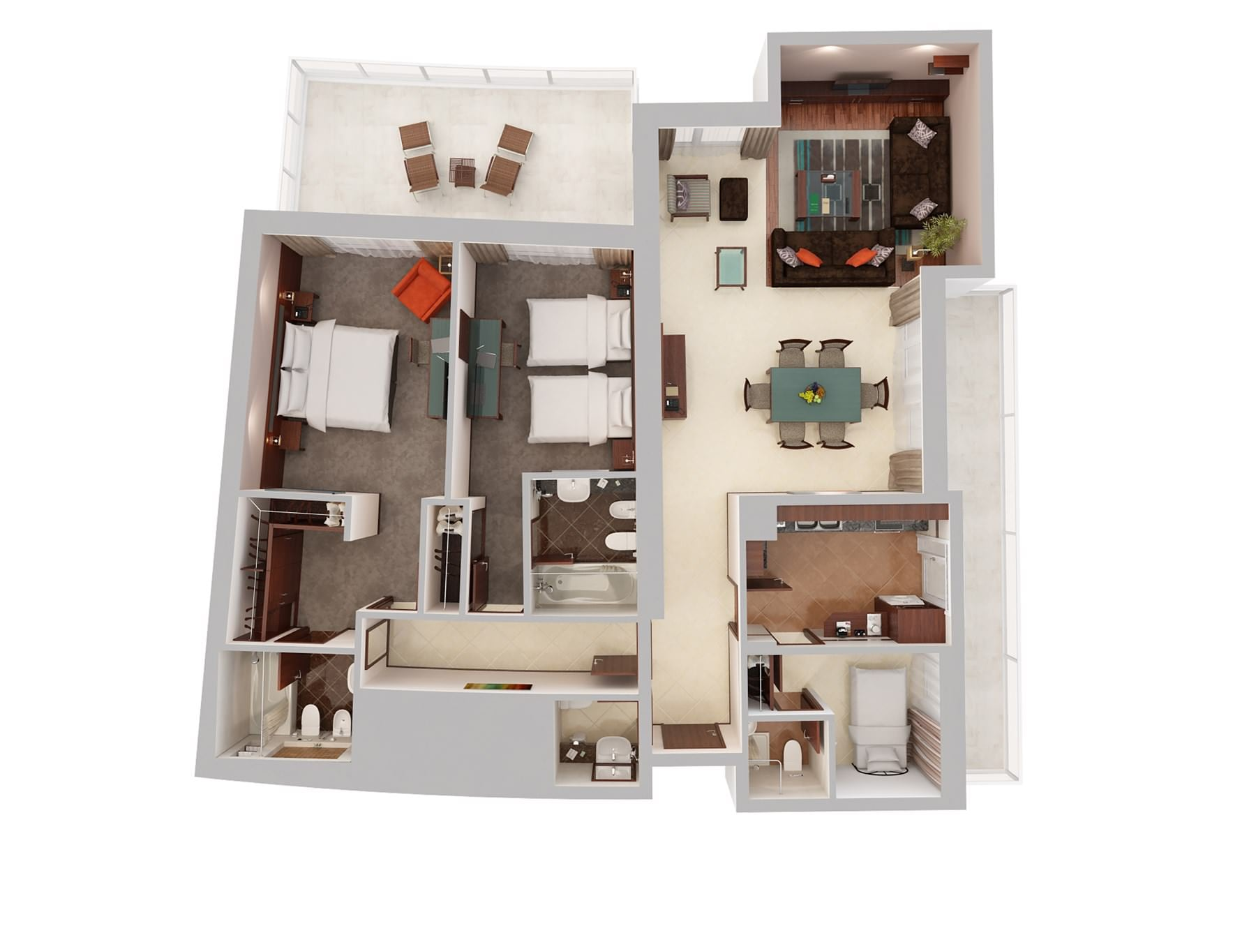 Two Bedroom Apartment With Maids Room